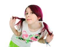 Menina cor-de-rosa estranha do emo do cabelo Fotografia de Stock Royalty Free