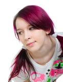 Menina cor-de-rosa estranha do emo do cabelo Fotografia de Stock