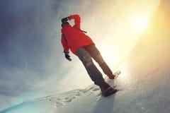 A menina corajoso no inverno brilhante veste a vista na distância em um campo coberto de neve Imagens de Stock