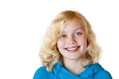 A menina/criança bonitas novas sorri feliz foto de stock
