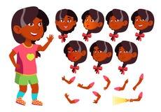 Menina, criança, criança, vetor adolescente Indiano, hindu Asiático amigo Pessoa positiva inteligente Emoções da cara, vários ges ilustração stock