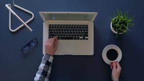 A menina criativa em uma camisa cinzenta está datilografando em um portátil ao sentar-se na tabela e no café das bebidas Estão pr vídeos de arquivo