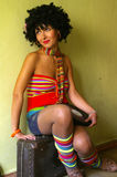 Menina curly bonito do disco fotografia de stock royalty free