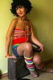 Menina curly bonito do disco fotos de stock