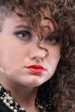 Menina curly da mulher do retrato Foto de Stock Royalty Free