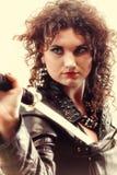 Menina curly e espada da mulher Curly Foto de Stock