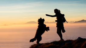 A menina dá o alimento a seu cão nas montanhas Foto de Stock Royalty Free