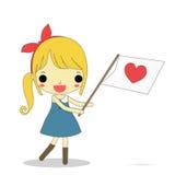 A menina dá o amor Fotos de Stock