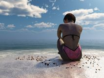 menina 3d no roupa de banho cor-de-rosa que senta-se na praia Imagem de Stock Royalty Free
