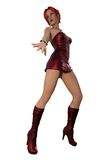 menina 3d no vestido de couro vermelho Imagens de Stock