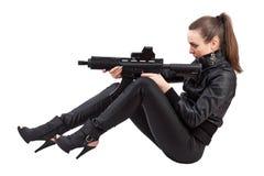 Menina da ação, posição de assento Imagem de Stock