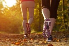 Menina da aptidão que corre no por do sol Imagem de Stock