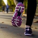 Menina da aptidão que corre no por do sol Fotos de Stock Royalty Free