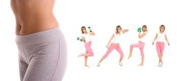 Menina da aptidão que exercita com peso da mão Fotografia de Stock Royalty Free