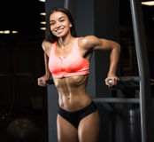 Menina da aptidão que levanta no gym Fotos de Stock