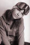 Menina da beleza com óculos de proteção. bnw Fotos de Stock