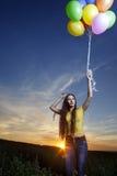 Menina da beleza com balão foto de stock royalty free