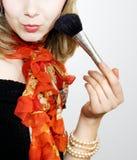 Menina da beleza com escova da composição Imagem de Stock Royalty Free