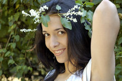 Menina da beleza com grinalda Fotografia de Stock