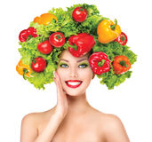 Menina da beleza com penteado dos vegetais fotografia de stock