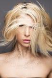 Menina da beleza com um cabelo do voo e uma composição criativa Face da beleza Fotos de Stock Royalty Free