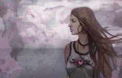 Menina da beleza no seacoast ilustração stock