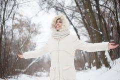 Menina da beleza o fundo do inverno Fotografia de Stock Royalty Free