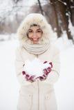 Menina da beleza o fundo do inverno fotos de stock