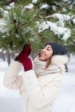 Menina da beleza o fundo do inverno Imagens de Stock Royalty Free