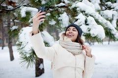 Menina da beleza o fundo do inverno Imagem de Stock Royalty Free