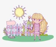 Menina da beleza para jogar maracas com sol ilustração stock