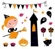 Menina da bruxa de Halloween & artigos, ícones. Imagem de Stock