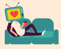 Menina da cabeça da tevê dos desenhos animados em um sofá Imagem de Stock Royalty Free