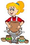 Menina da cerâmica dos desenhos animados Fotografia de Stock Royalty Free