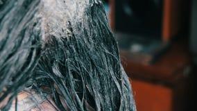 Menina da coloração de cabelo em um salão de beleza do cabeleireiro vídeos de arquivo