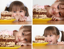 Menina da criança com bolo Imagem de Stock