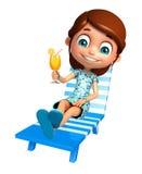 Menina da criança com cadeira de praia & Juice Glass Fotografia de Stock
