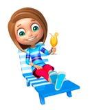 Menina da criança com cadeira de praia & Juice Glass Imagem de Stock Royalty Free