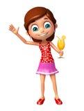 Menina da criança com Juice Glass Foto de Stock Royalty Free