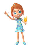 Menina da criança com Juice Glass Fotos de Stock Royalty Free