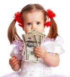 Menina da criança com nota de banco do dólar. Imagem de Stock Royalty Free