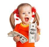Menina da criança com a nota de banco do dólar do dinheiro. Imagens de Stock Royalty Free