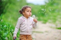 Menina da criança com o cabelo encaracolado que joga com dentes-de-leão amarelos dentro foto de stock