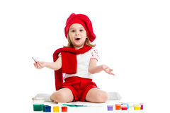 Menina da criança da pintura no branco fotografia de stock royalty free