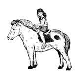 Menina da criança no vetor da gravura do pônei Imagens de Stock