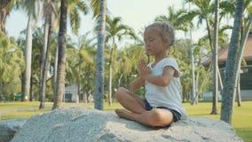 Menina da criança pequena que medita no parque bonito com as palmeiras no fundo video estoque