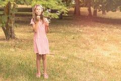 Menina da criança que joga com bolhas de sabão Foto de Stock