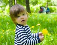 Menina da criança que prende dentes-de-leão amarelos da flor Fotos de Stock Royalty Free