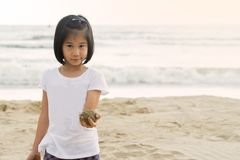 A menina da criança 6s aprecia o mar da praia do jogo Fotografia de Stock Royalty Free