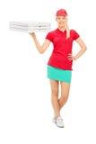 Menina da entrega da pizza que guarda caixas Foto de Stock Royalty Free